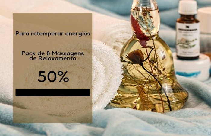 50% Pack 8 massagens - só de 19 a 22 de Abril